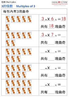 Mama Love Print 自製工作紙 - 數學倍數和乘數表練習 (1-10) Multiplication and Time Tables Math Worksheets Printable Freebies Kindergarten Activities Daily Math Practices