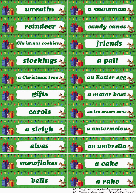 words for esl christmas flashcards