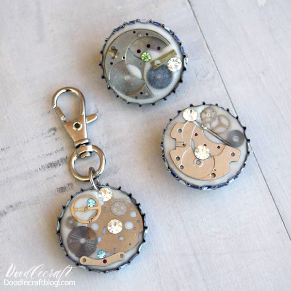 Use resin jewelry clay pressed into bottle caps with steampunk elements, jewels and trinkets.
