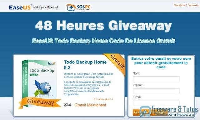 Offre promotionnelle : EaseUS Todo Backup Home 9.2 gratuit !
