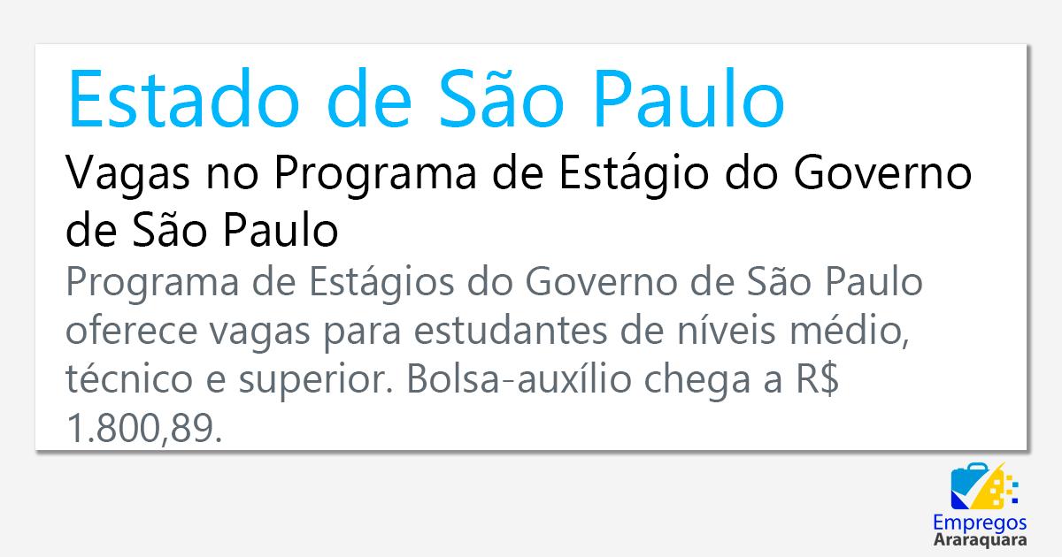 Vagas no Programa de Estágio do Governo de São Paulo