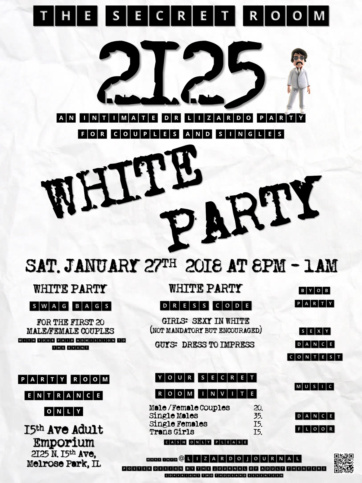 The Secret Room 2125: White Party at 15th Ave. Adult Theater Party Room in Chicago!