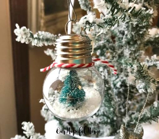 clear diy ornament snow globe bottle brush tree faux snow