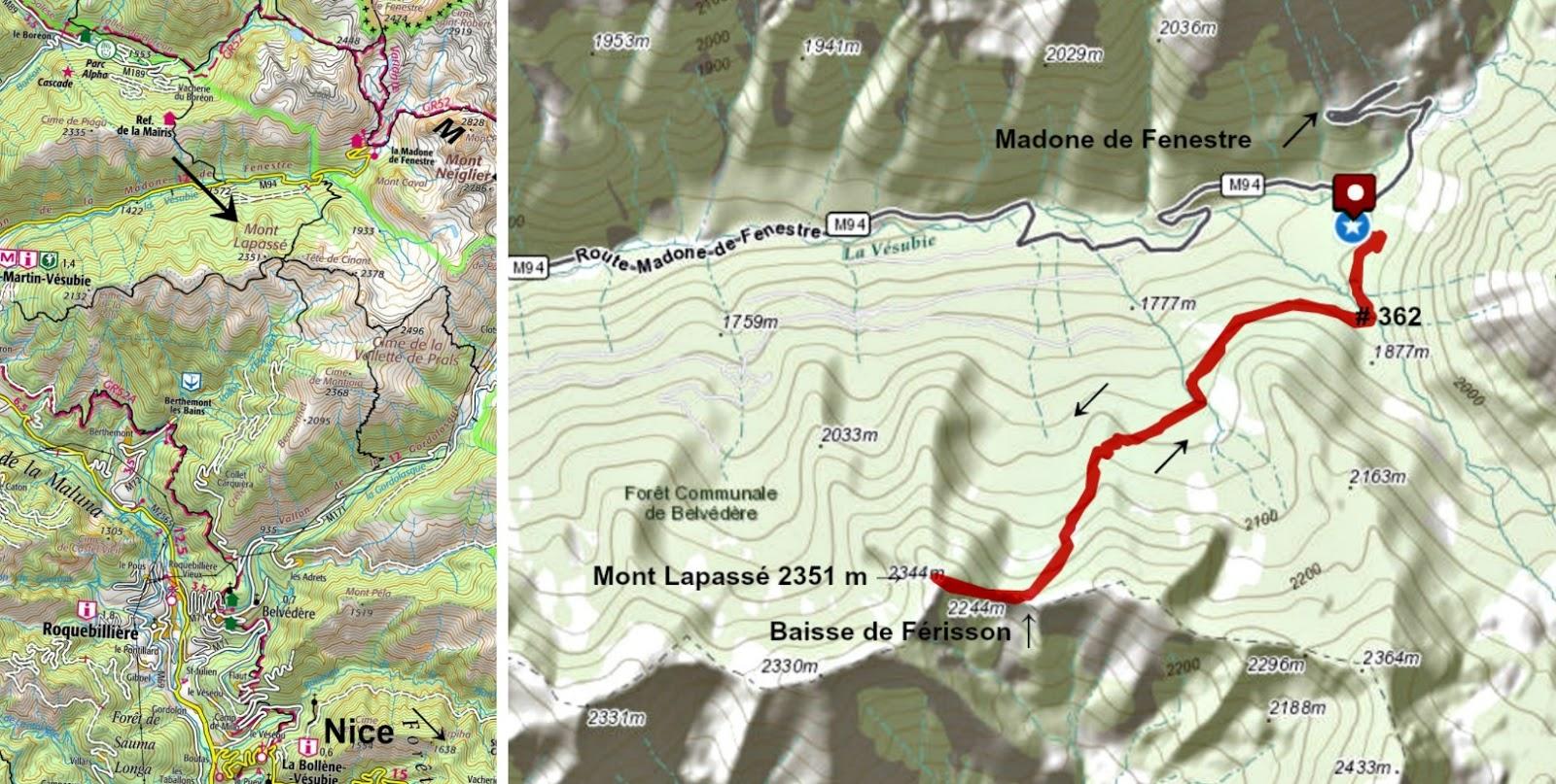 Mont Lapassé trail track and location