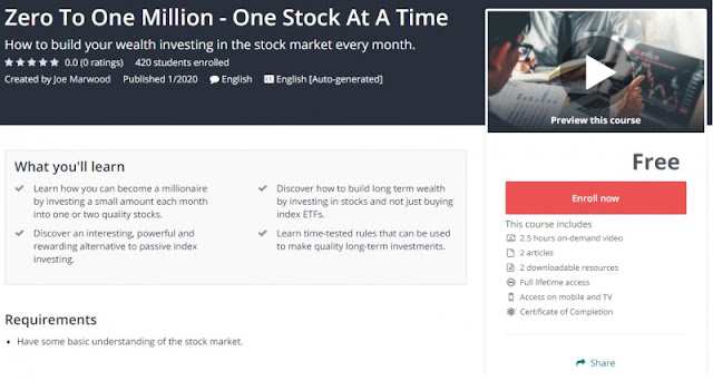 [100% Free] Zero To One Million - One Stock At A Time