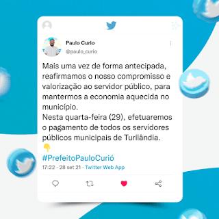 Prefeito Paulo Curió anuncia antecipação do pagamento dos servidores público municipais referente a setembro