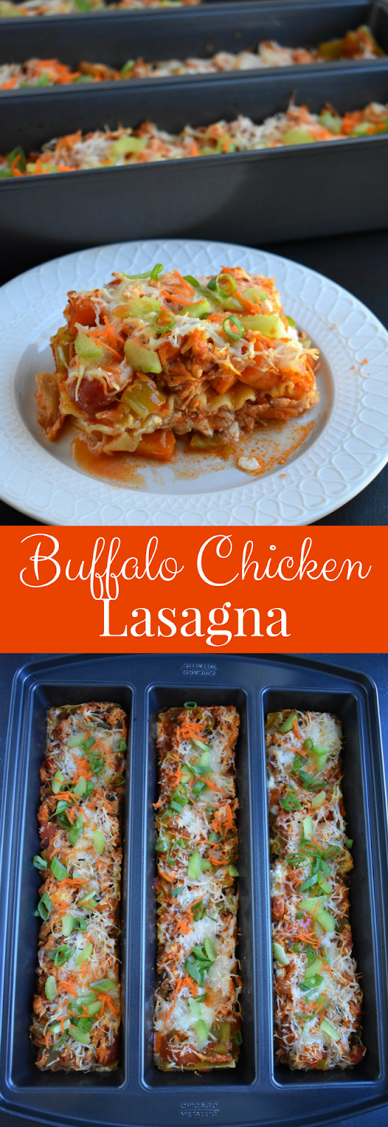 Buffalo Chicken Lasagna is loaded with spicy buffalo flavor, shredded chicken, celery, carrots, onions and is covered in melted cheese. It is rich and creamy making it the perfect filling dinner!