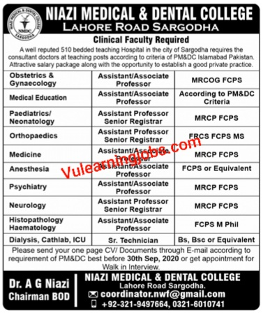 Niazi Medical & Dental College Jobs 2020 For Gynecology & Other Latest