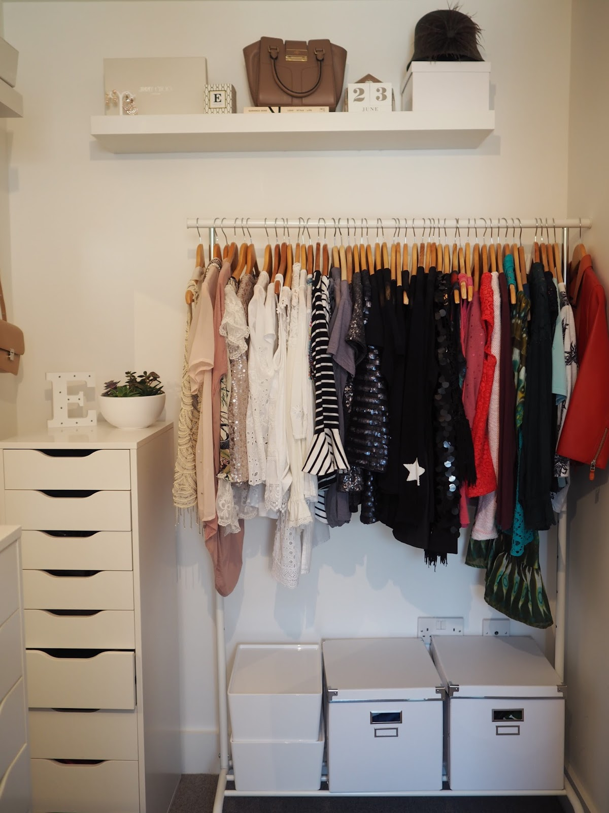 convert spare room to walk in closet Ikea Rigga rail Alex drawers