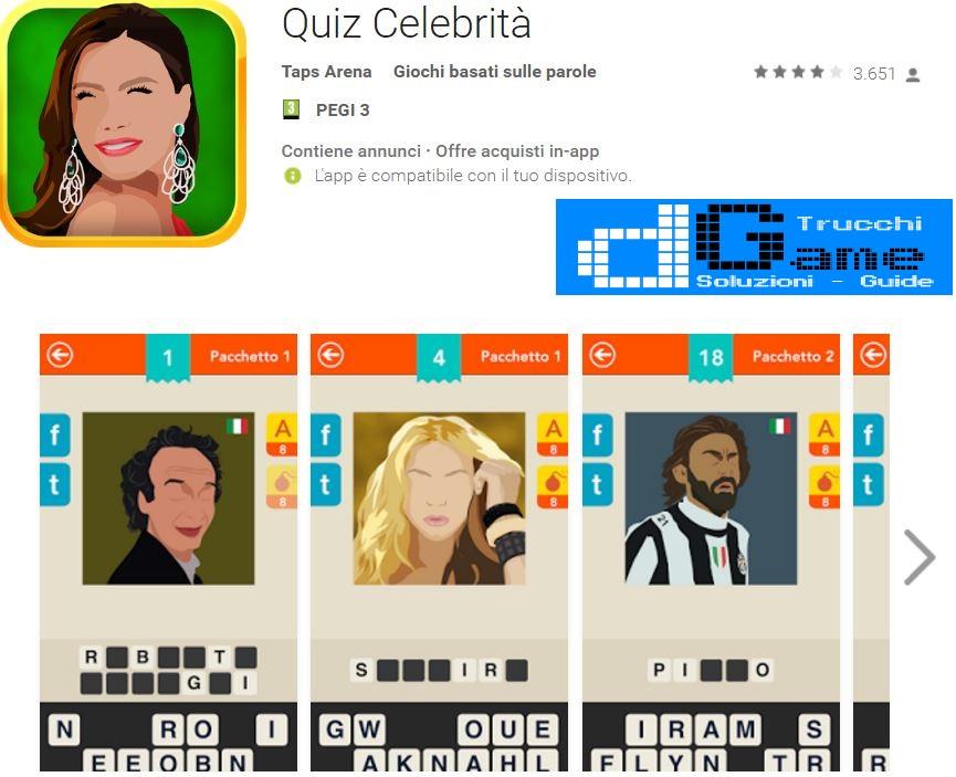 Soluzioni Quiz Celebrità