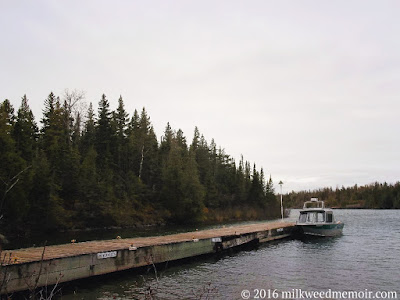 small boat docked at Rock Harbor, Isle Royale National Park, Michigan