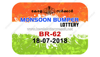 "Welcome to:: www.keralalotteryresult.net Kerala Next Bumper; ""Monsoon bumper - 2018 Results"" Prize Structure ""BR-62"",  monsoon bumper 2018 price structure, monsoon bumper 2018 prize, monsoon bumper 2018 prize structure, monsoon bumper 2018 result date, monsoon bumper 2018 today result, monsoon bumper 2018 winner, monsoon bumper br62, monsoon bumper draw date 18-07-2018, Kerala Bumper; ""MONSOON BUMPER - 2018 Results"" Prize Structure BR-62 Kerala Lottery Results, Monsoon Bumper 2018  lottery result on 18-07-2018, keralalottery.info, kerala lottery result, Official monsoon bumper result live from 2 PM keralalottery results, newly added numbers, 23 May 2018 monsoon Bumper Result, keralalotteryresult, kerala lottery result live, kerala lottery today, kerala lottery result today, kerala lottery results today, today kerala lottery result, lottery result on 18-07-2018, keralalotteries.info, kerala lottery result 18.07.2018 monsoon bumper 2018 lottery sale, online sale, monsoon lottery, live keralalottery results, Monsoon lottery 2018 online sale"