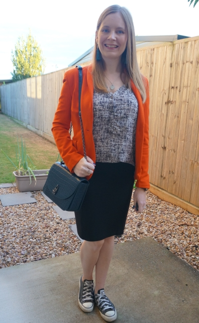 orange blazer with teal accessories neutral printed tank black pencil skirt autumn office business casual outfit | awayfromblue