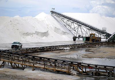 45 ft. stacks of salt in Inagua, Bahamas.