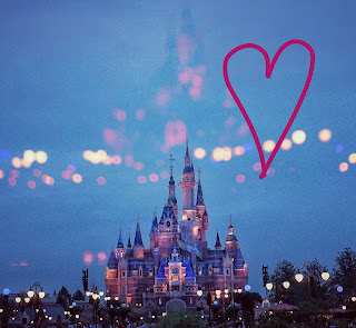 Image of Cinderella Castle at Disney's Magic Kingdom with a heart drawn in the corner