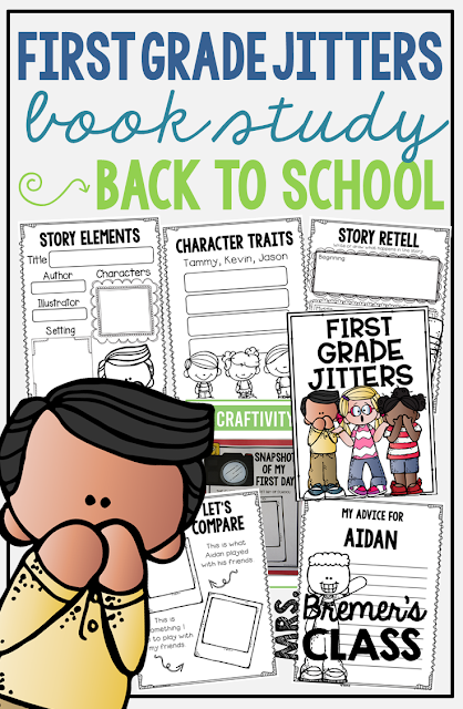 First Grade Jitters book study back to school literacy unit with Common Core aligned companion activities, class book, and a craftivity for K-1