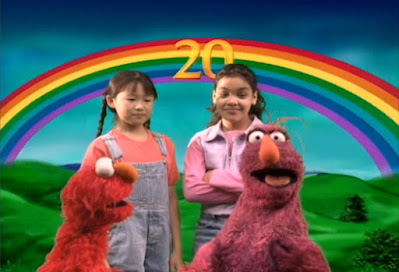 Finally Elmo, Telly, Gabi and Alice reach at the number 20 on a rainbow and they want to play The Great Numbers Game one more time.