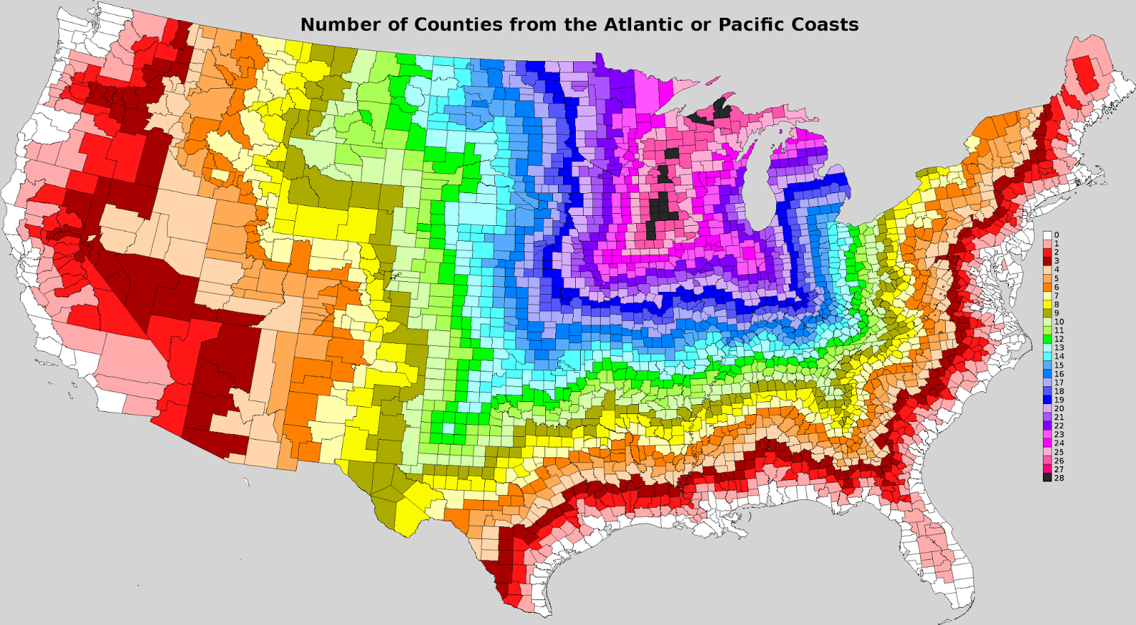 Number of counties from the Atlantic or Pacific coasts