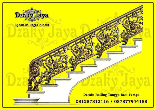 Desain railing tangga klasik full ornamen alferon