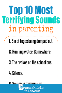 Funny how innocent sounds become really scary after having kids. Check out this relatable look at mom life, where there's nothing more terrifying than a bucket of Legos being dumped out… except for very suspicious silence. #funny #parentinghumor #momlife #kids #parenting