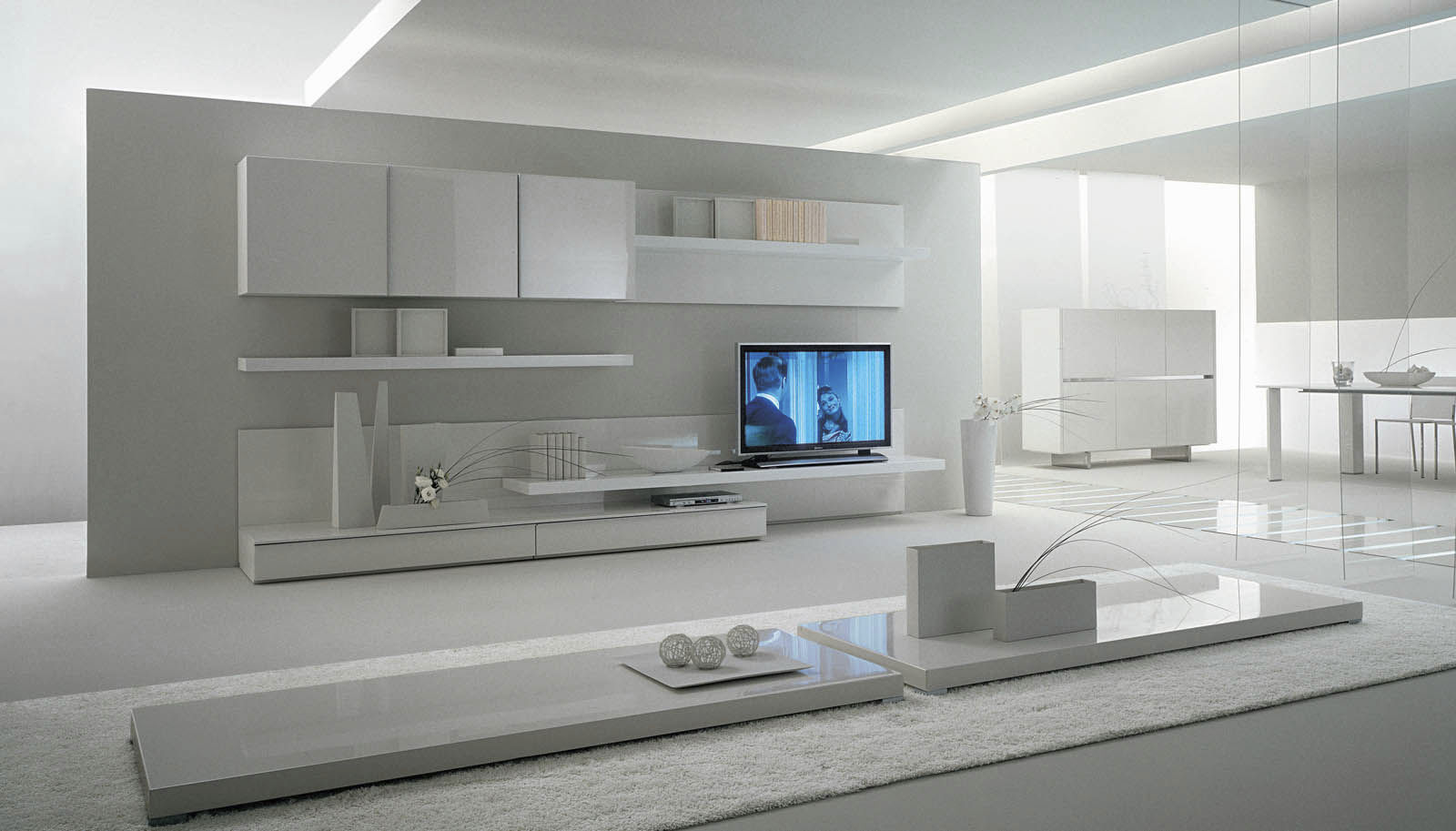 White Wall Unit With Wooden Elements ! Home Decor