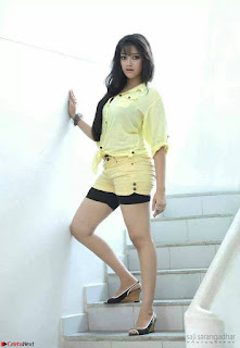 Abhirami Suresh in Light Lemon Green Tight Top black inner shorts spicy Pics February 2017 007.jpg