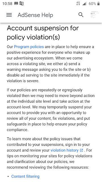 account suspension for policy violation