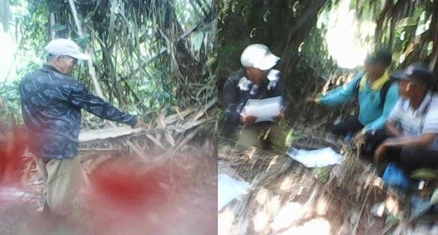 Sekdes Dan Staf Desa Batin Suir Hadir di Lokasi Kebun Rumbia di Tapal Batas Perigi Leter (L) Sesuai Dengan Gambar Tanah