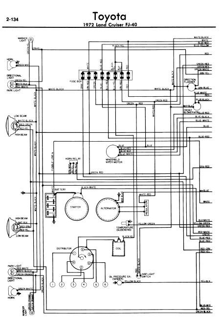 repair-manuals: Toyota Land Cruiser FJ40 1972 Wiring Diagrams