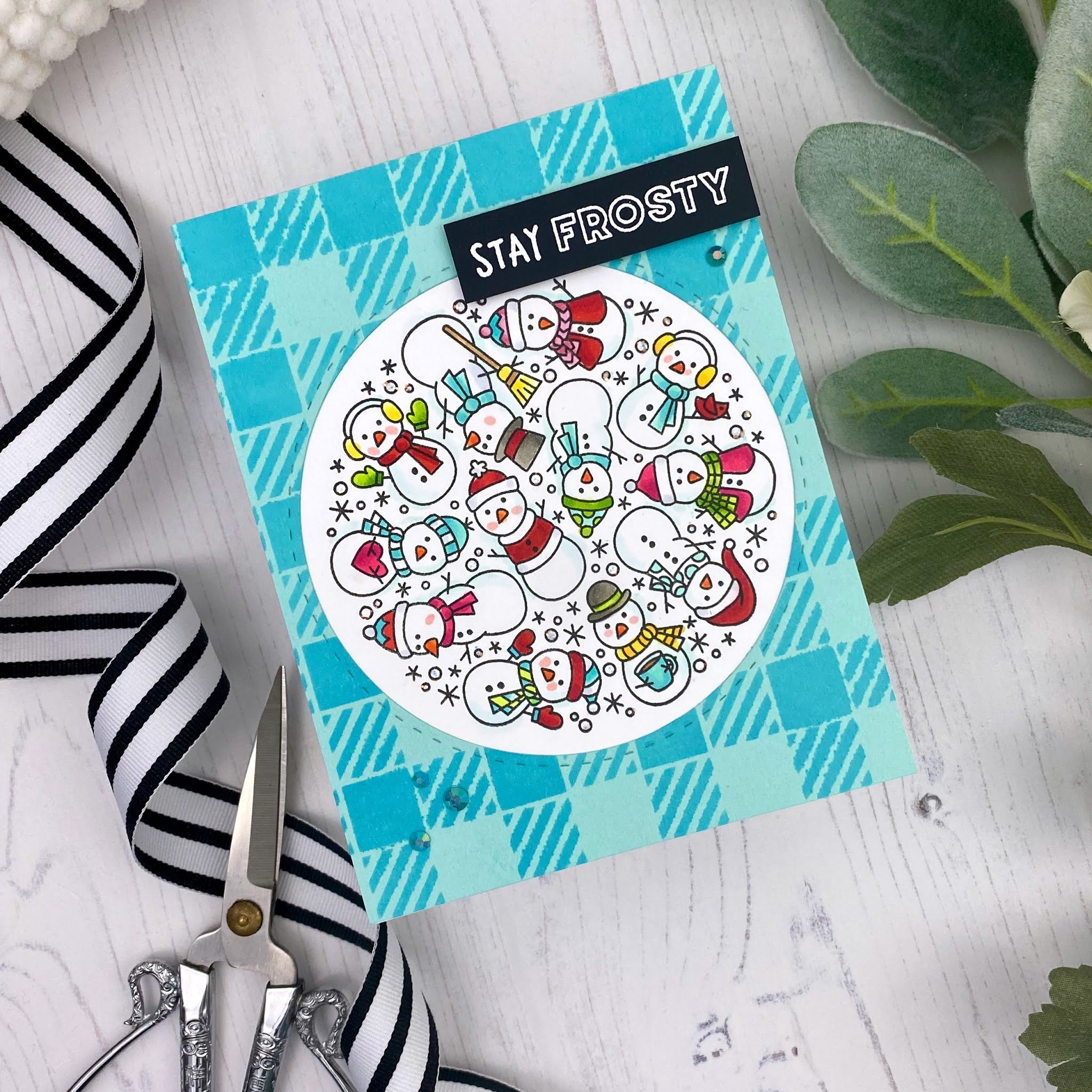 Stay Frosty Card by January Guest Designer Tricia Barber | Snowman Roundabout Stamp Set and Gingham Stencil by Newton's Nook Designs #newtonsnook