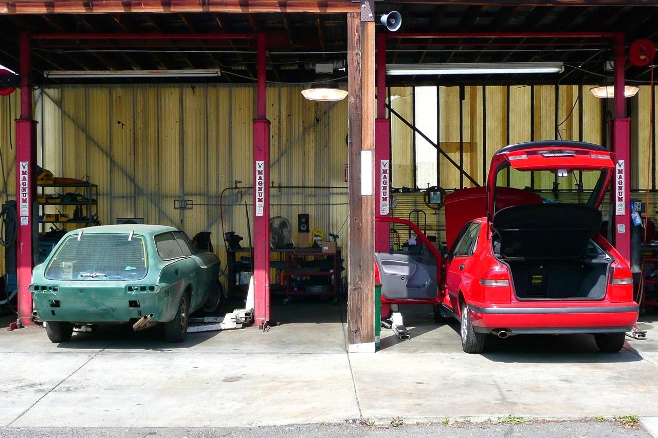 Scenes in a classic Saab shop