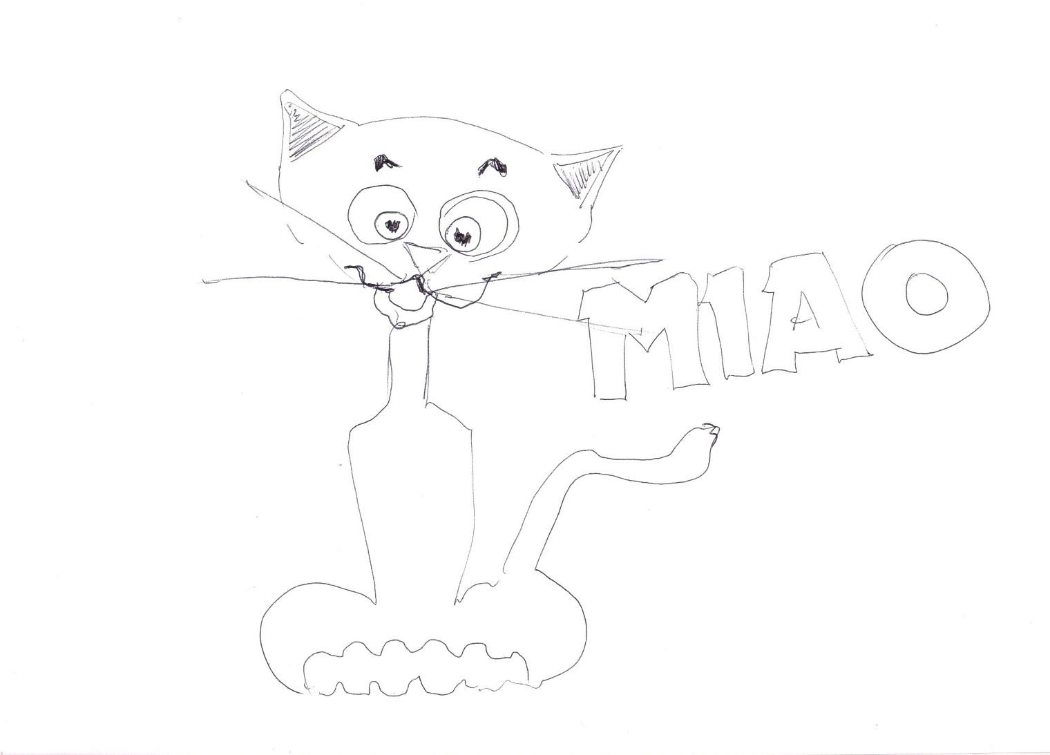 Stampa e colora: Pulcino Pio - gatto miao