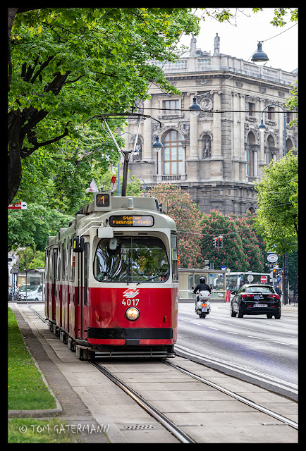 Vienna Tram 4017 on Opernring. The next stop is at the Vienna Opera House.