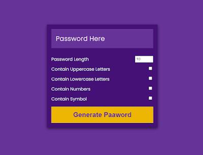 password generator javascript | password generator using Html Css javascript