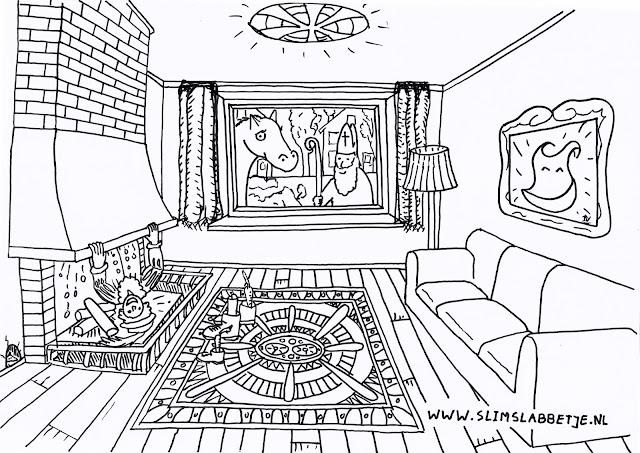 Slim Slabbetje Sinterklaas kleurplaat - Sint kijkt door het raam met zijn schimmel.