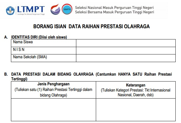 Borang Portofolio SNMPTN