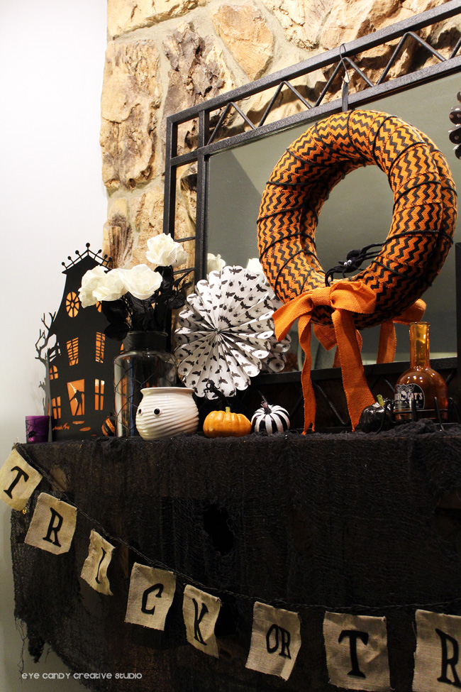 trick or treat banner, haunted house decor, halloween mantel decor