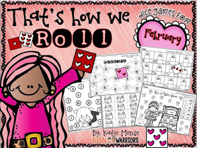 Dice games for February, groundhogs, teeth, valentines day, presidents day
