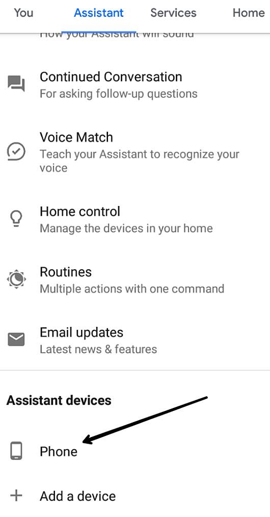 change Google Assistant settings