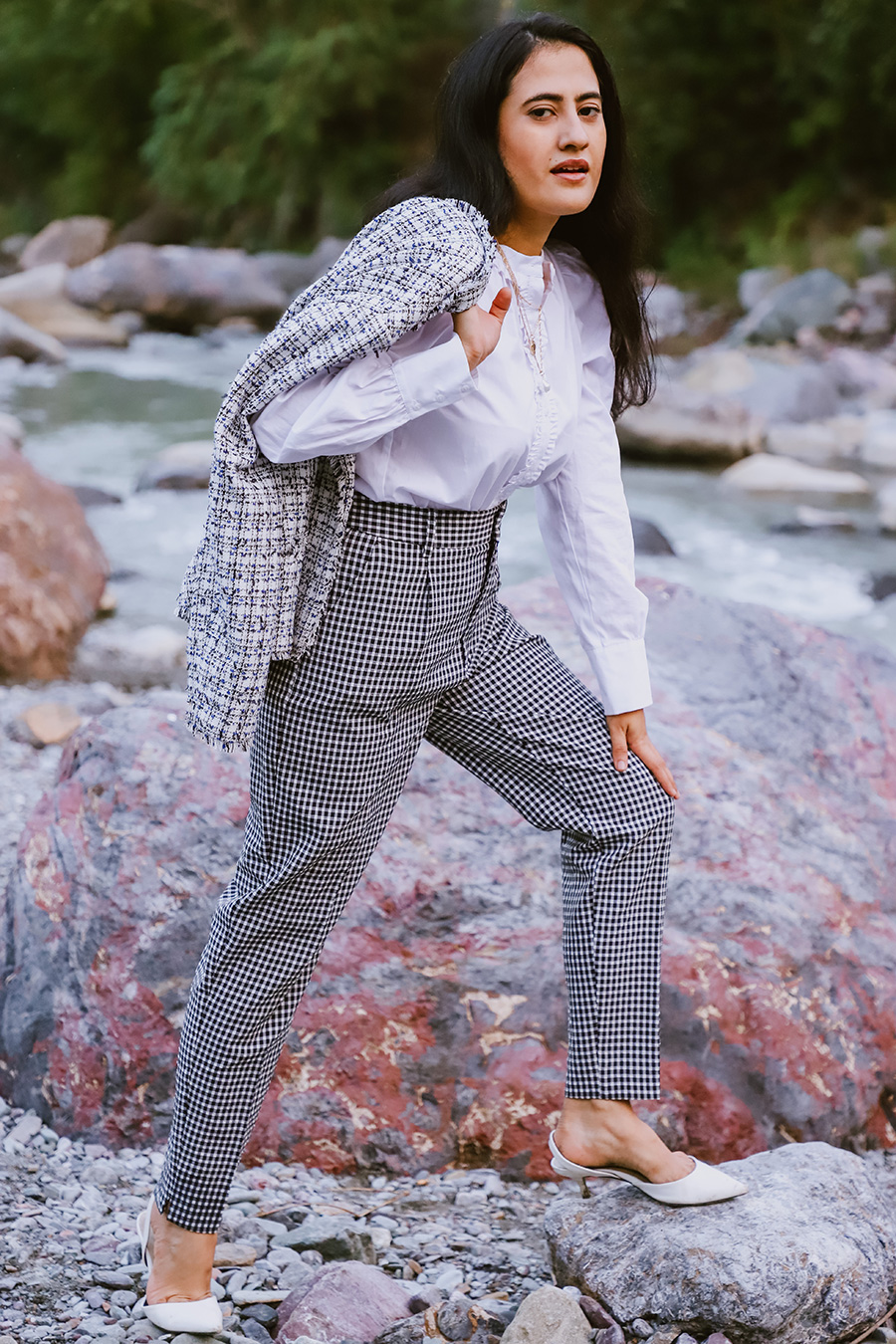 wearing women white button up shirt , gingham pant with tweed blazer and white heel for work outfit