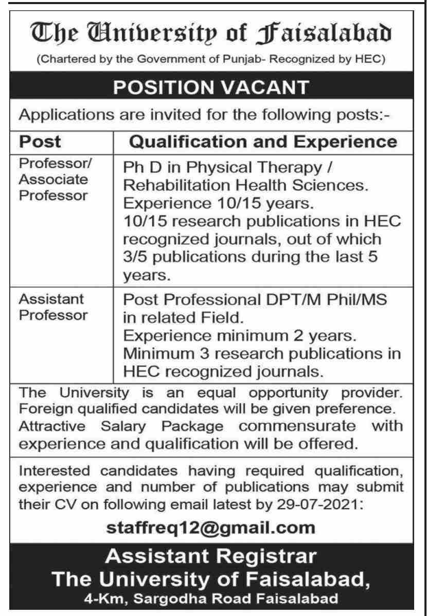 Jobs in The University of Faisalabad