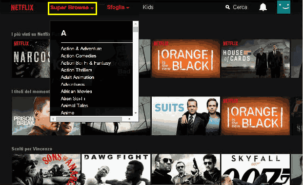 Estensione Chrome Super Browse per Netflix