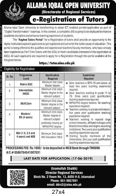 Allama Iqbal Open University Tutors Jobs 2019