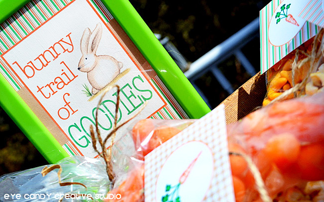 bunny trail of goodies, easter sign, easter snacks, candy-free easter