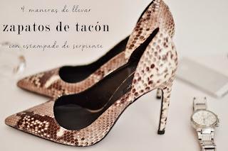 4 maneras de llevar zapatos de tacón con estampado de serpiente