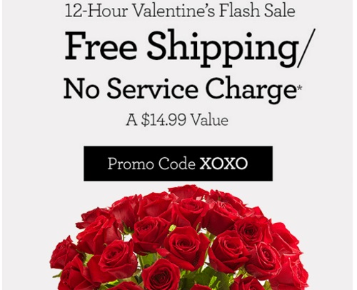 1800Flowers Flash Sale Free Shipping/No Service Charge Promo Code