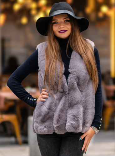 Vesta Blana Sarra Gri frumoasa de iarna model nou 2019