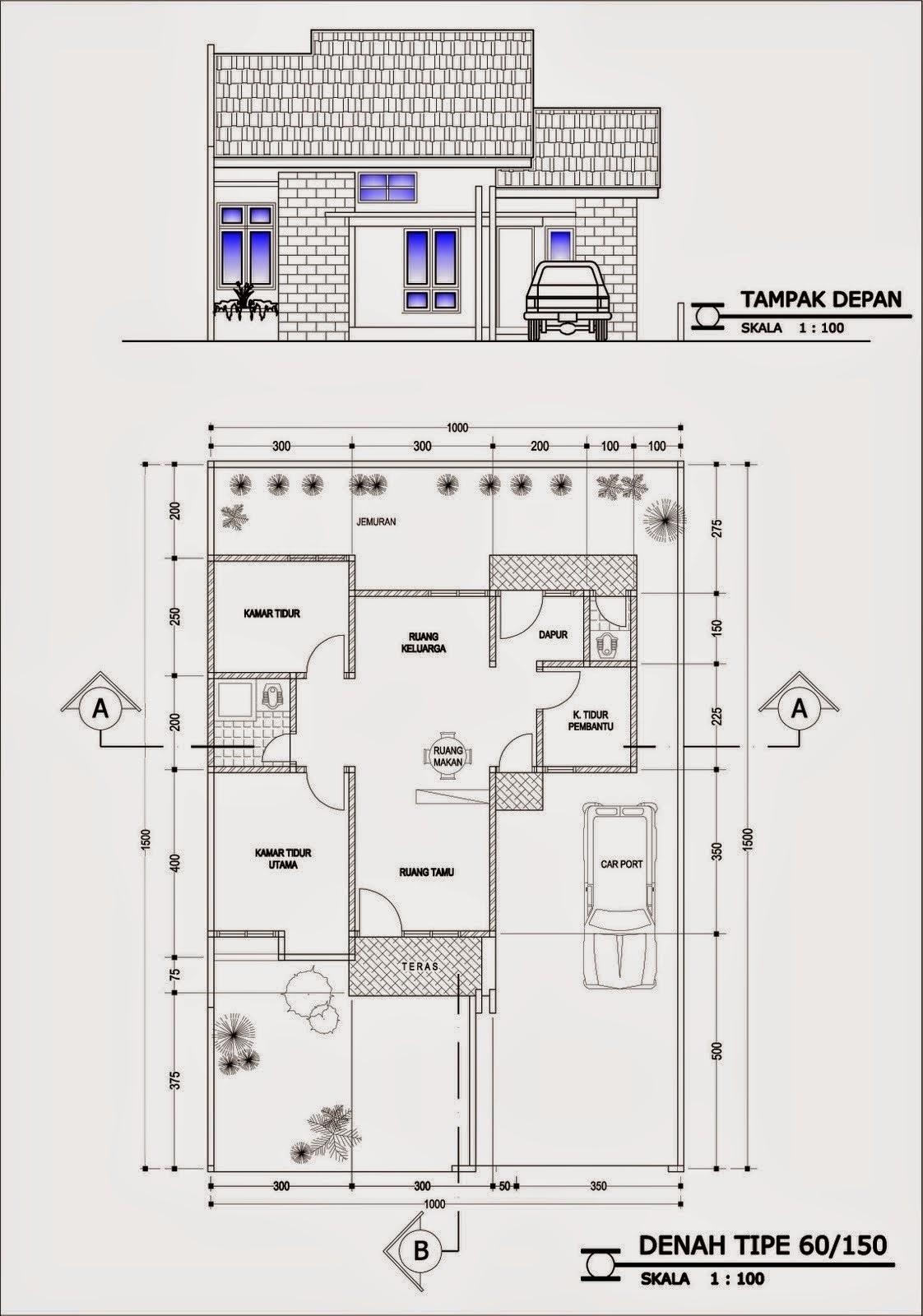 Inilah Gambar Denah Desain Rumah Minimalis 4 Kamar Tidur Sekian