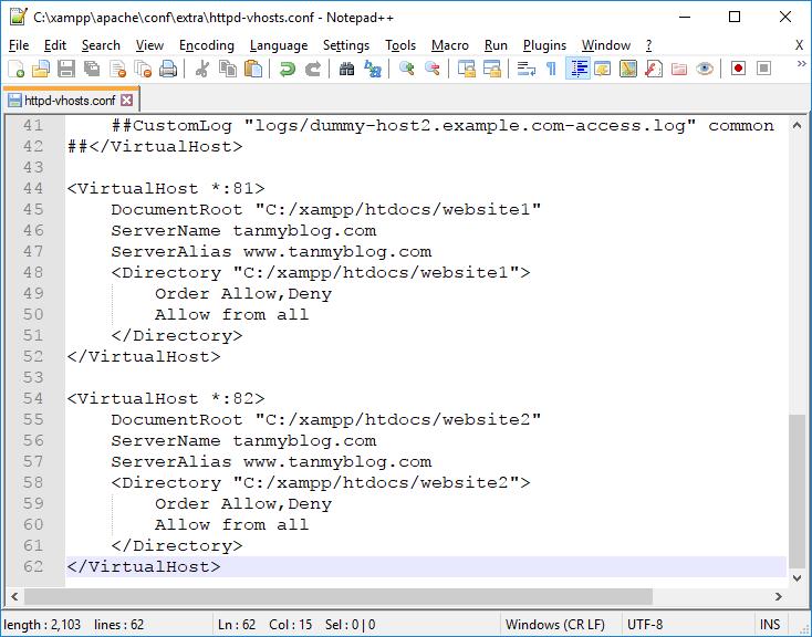 Hướng dẫn tạo thêm Port vào tên miền trên XAMPP 5