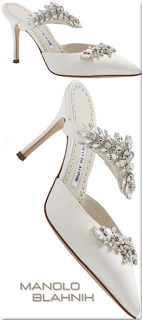 ♦Manolo Blahnik Lurum off-white satin crystal embellished mules #manoloblahnik #shoes #brilliantluxury